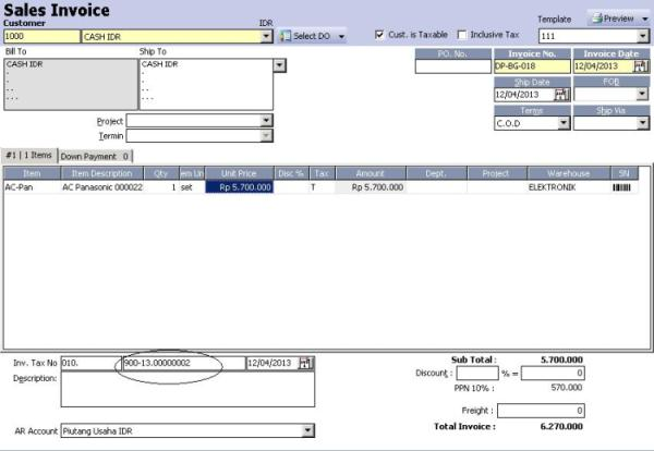 Faktur Penjualan ACCURATE Accounting Software