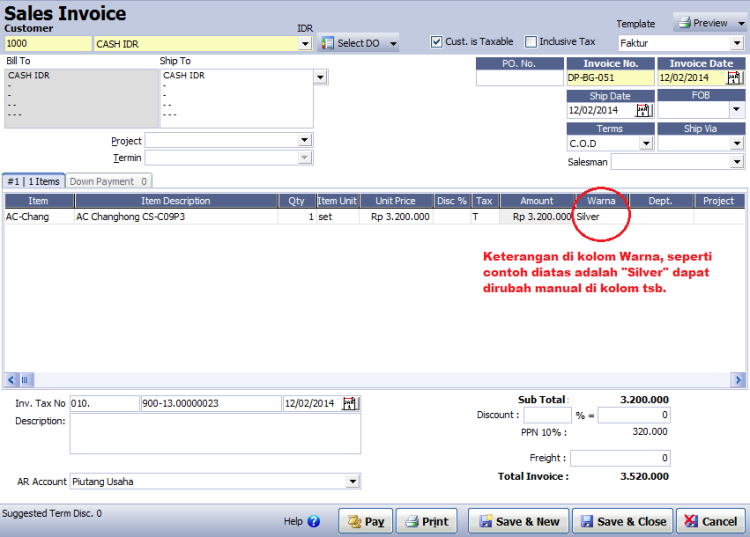 Tampilan Screen(Layar) Invoice setelah centang Screen Reserved1 di template.