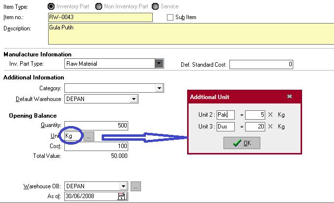 Menampilkan Quantity Dalam Keterangan Per Unit